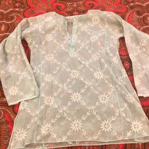 Calypso Light Aqua Cotton Tunic Size 36